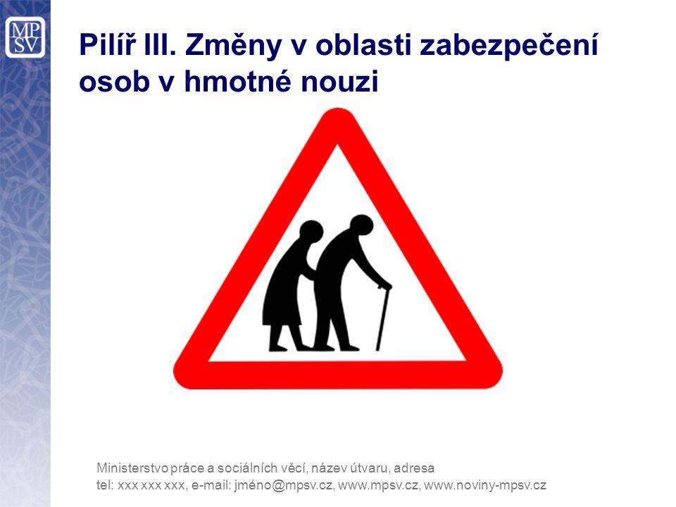Pilíř III. Změny v oblasti zabezpečení osob v hmotné nouzi