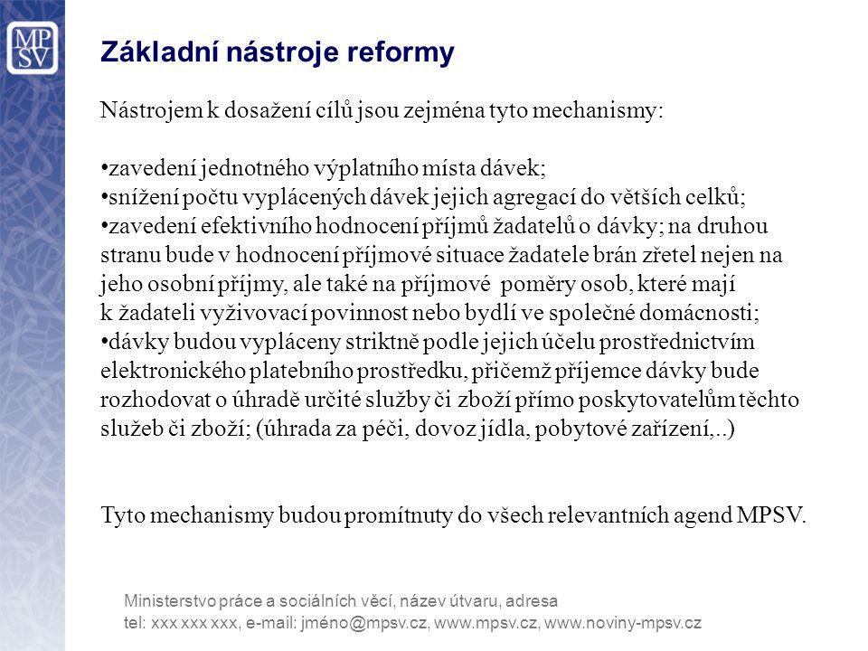 Základní nástroje reformy