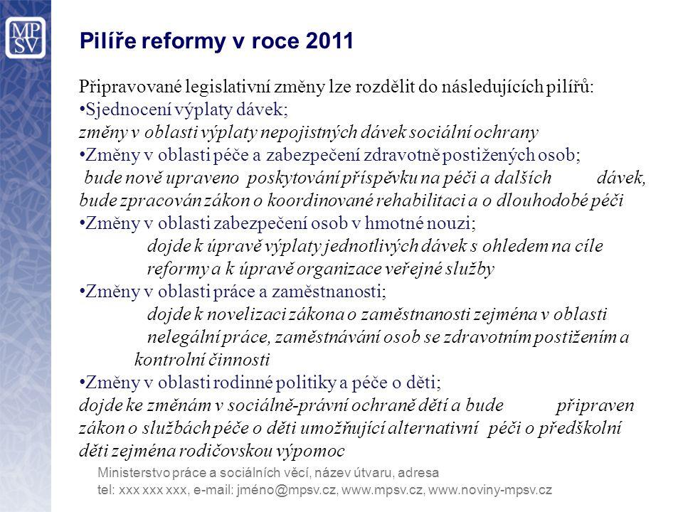 Pilíře reformy v roce 2011 Připravované legislativní změny lze rozdělit do následujících pilířů: Sjednocení výplaty dávek;