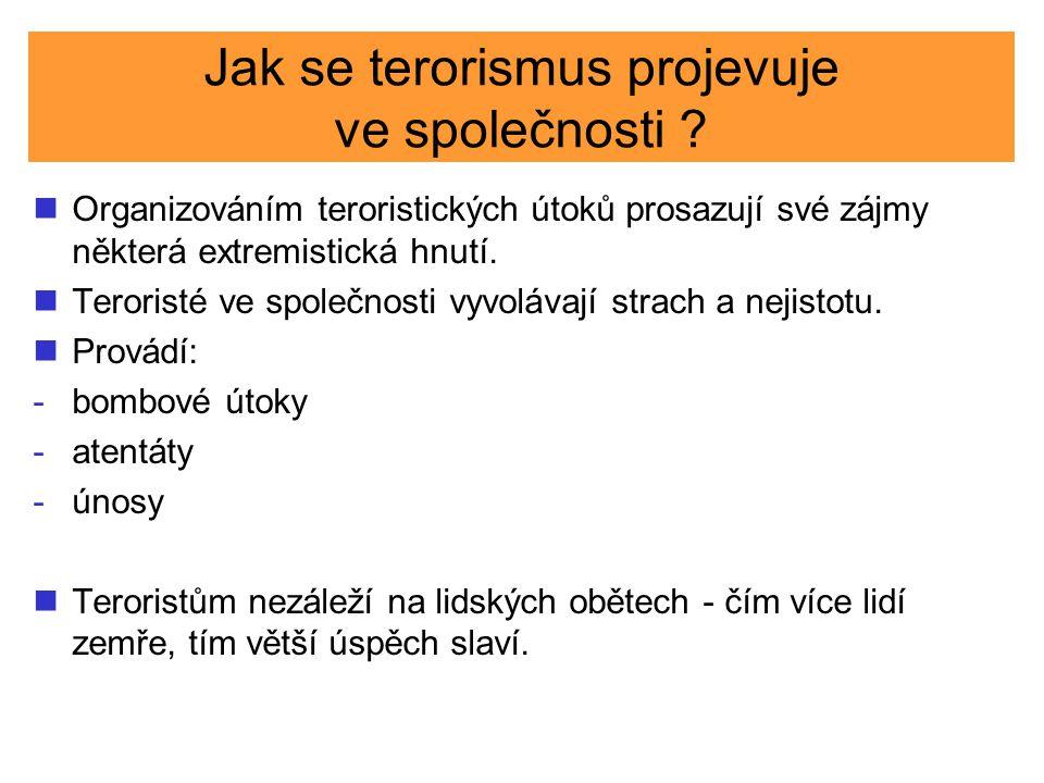 Jak se terorismus projevuje ve společnosti