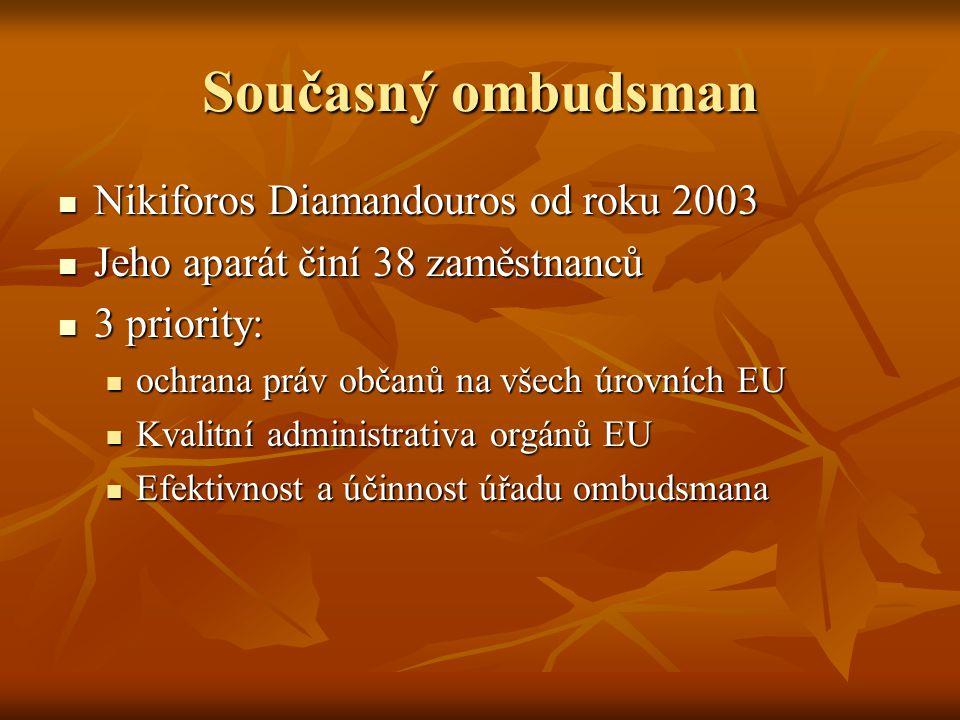 Současný ombudsman Nikiforos Diamandouros od roku 2003