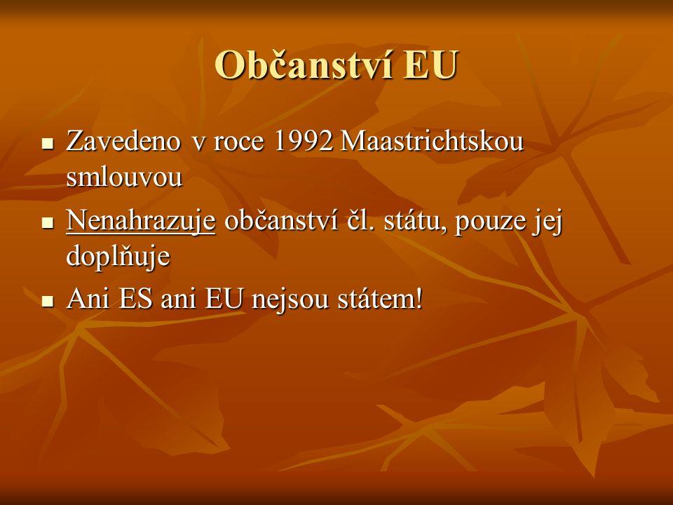 Občanství EU Zavedeno v roce 1992 Maastrichtskou smlouvou
