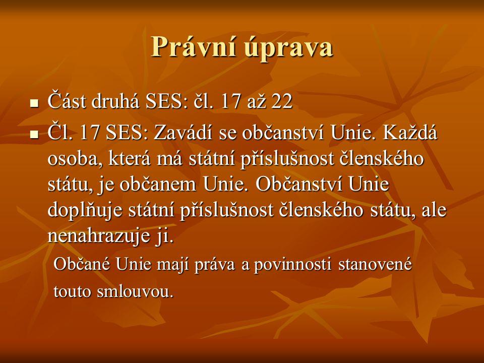 Právní úprava Část druhá SES: čl. 17 až 22