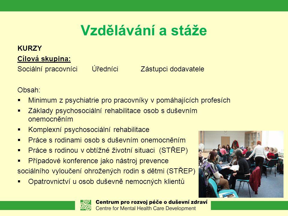 Vzdělávání a stáže KURZY Cílová skupina: