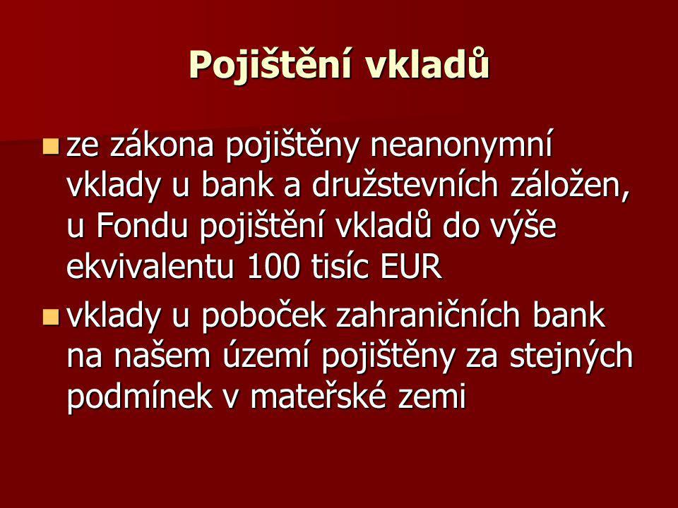 Pojištění vkladů ze zákona pojištěny neanonymní vklady u bank a družstevních záložen, u Fondu pojištění vkladů do výše ekvivalentu 100 tisíc EUR.