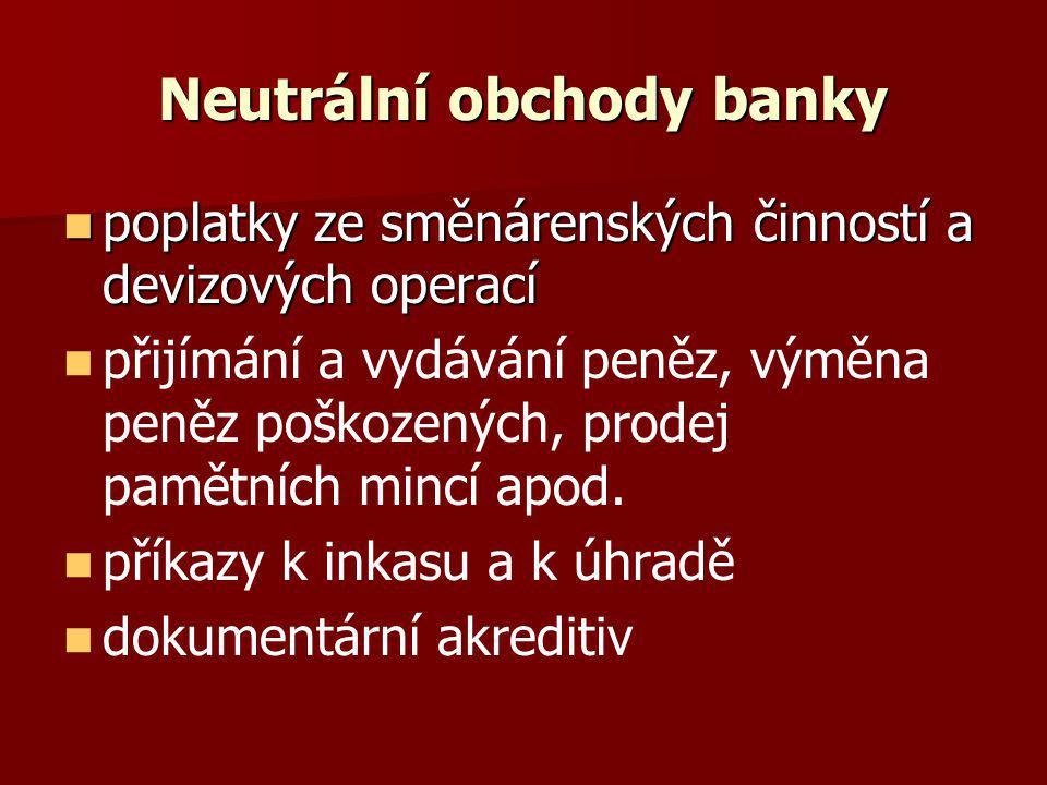 Neutrální obchody banky
