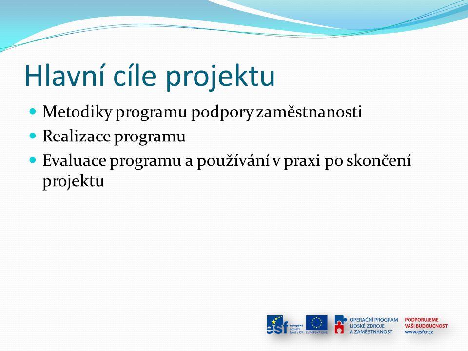 Hlavní cíle projektu Metodiky programu podpory zaměstnanosti