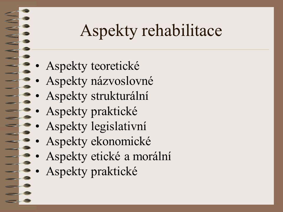 Aspekty rehabilitace Aspekty teoretické Aspekty názvoslovné