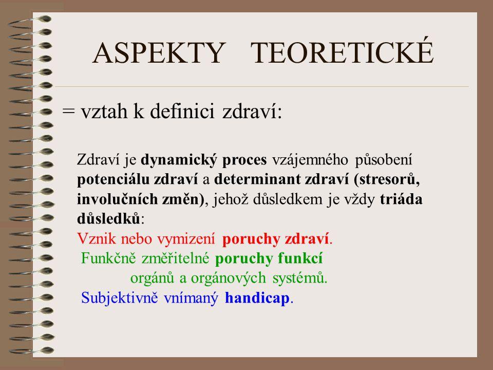 ASPEKTY TEORETICKÉ = vztah k definici zdraví: