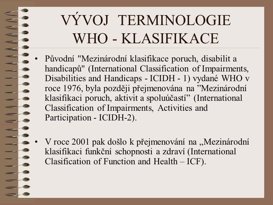 VÝVOJ TERMINOLOGIE WHO - KLASIFIKACE