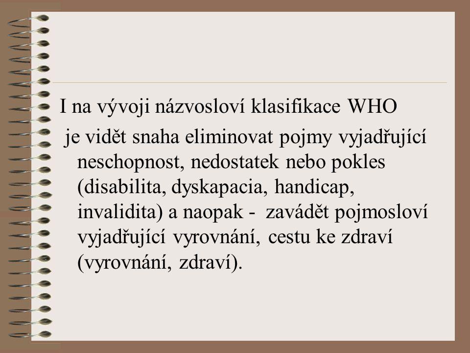 I na vývoji názvosloví klasifikace WHO
