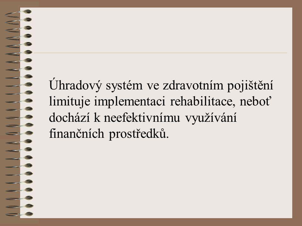 Úhradový systém ve zdravotním pojištění limituje implementaci rehabilitace, neboť dochází k neefektivnímu využívání finančních prostředků.