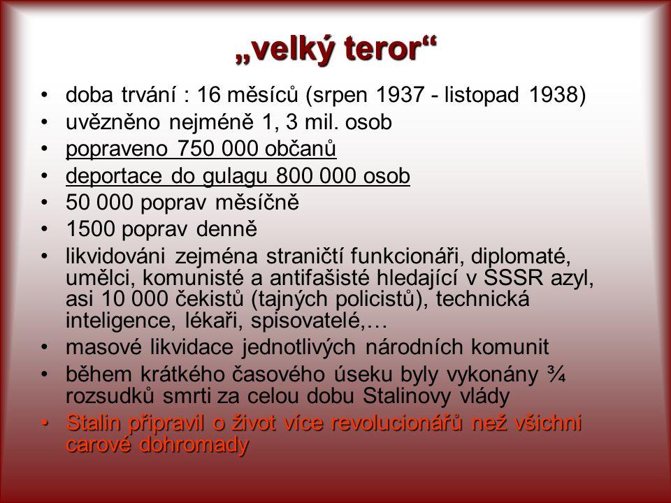 """""""velký teror doba trvání : 16 měsíců (srpen 1937 - listopad 1938)"""
