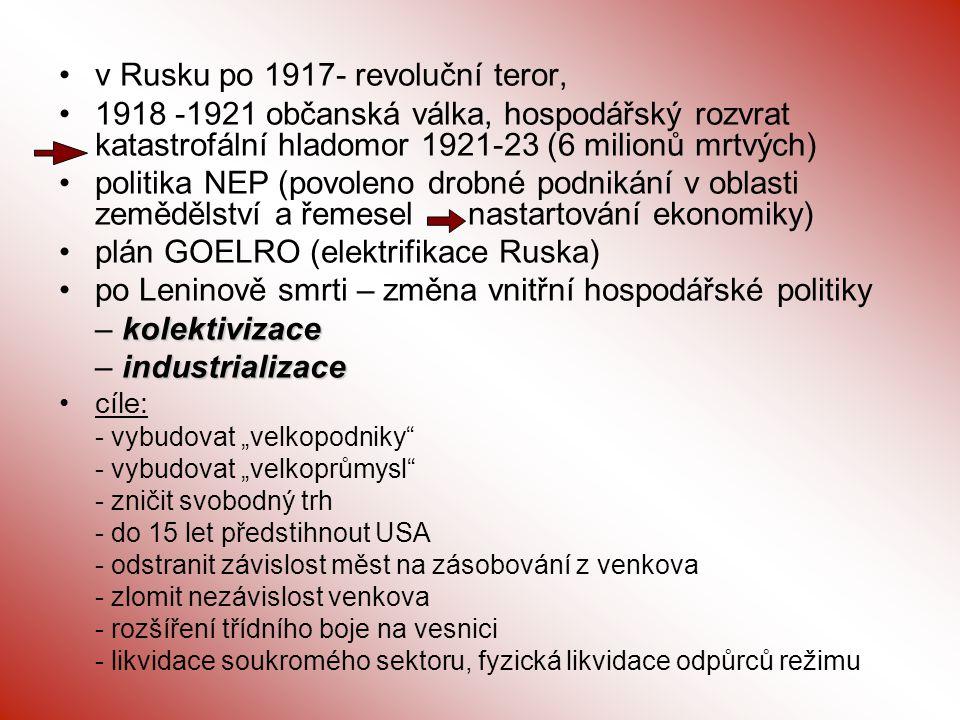 v Rusku po 1917- revoluční teror,