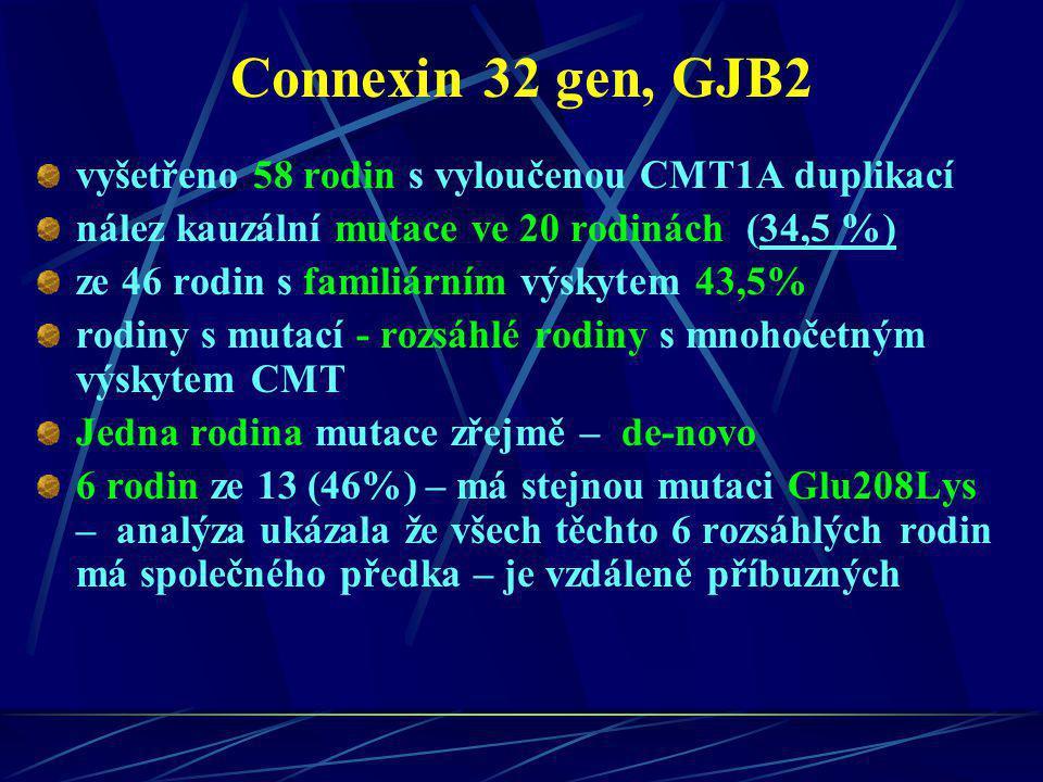 Connexin 32 gen, GJB2 vyšetřeno 58 rodin s vyloučenou CMT1A duplikací