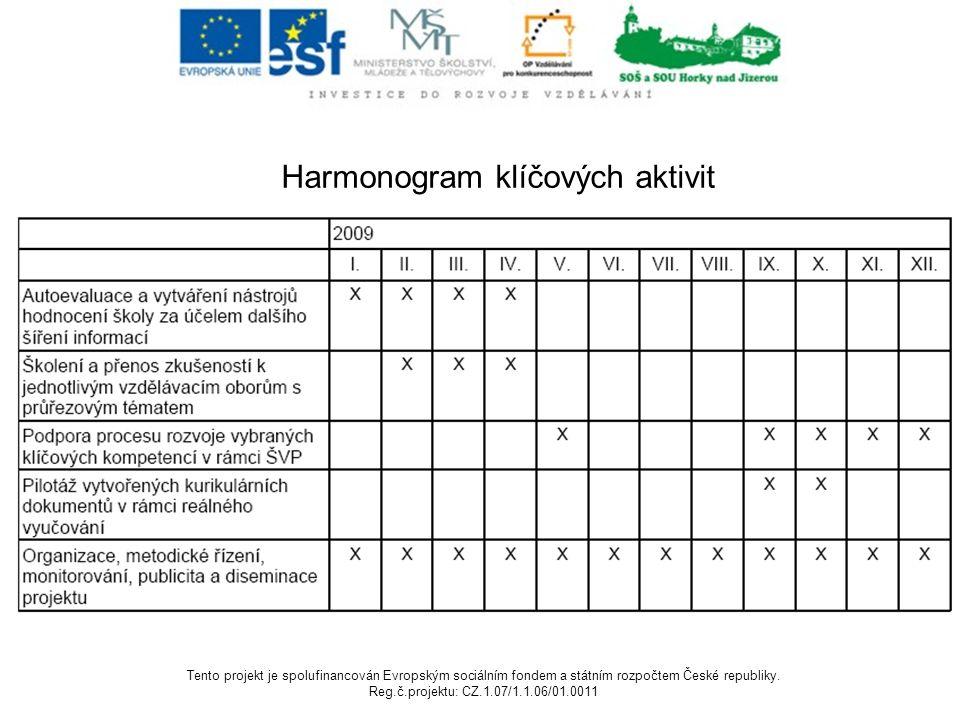 Harmonogram klíčových aktivit