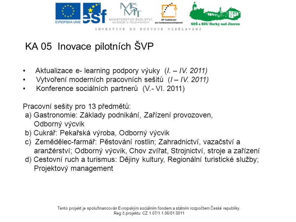 KA 05 Inovace pilotních ŠVP