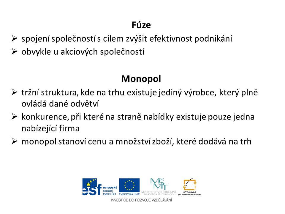 Fúze Monopol spojení společností s cílem zvýšit efektivnost podnikání