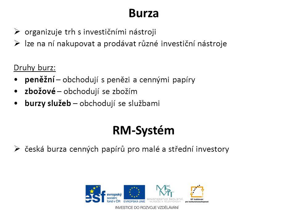 Burza RM-Systém organizuje trh s investičními nástroji