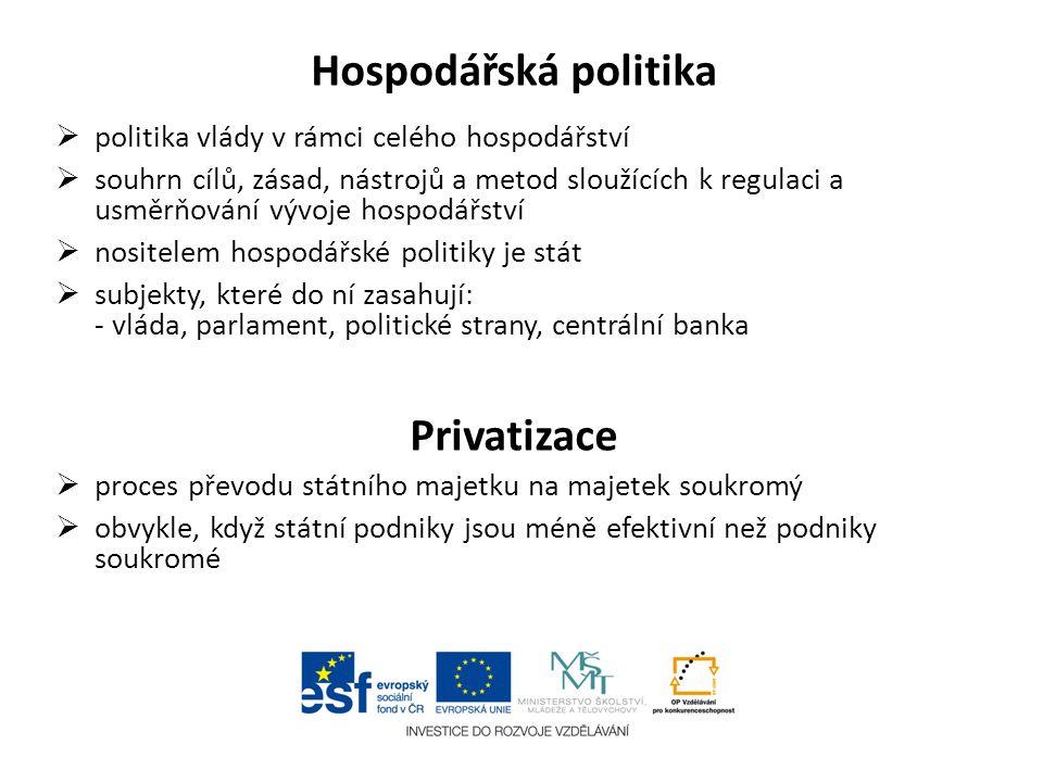 Hospodářská politika Privatizace