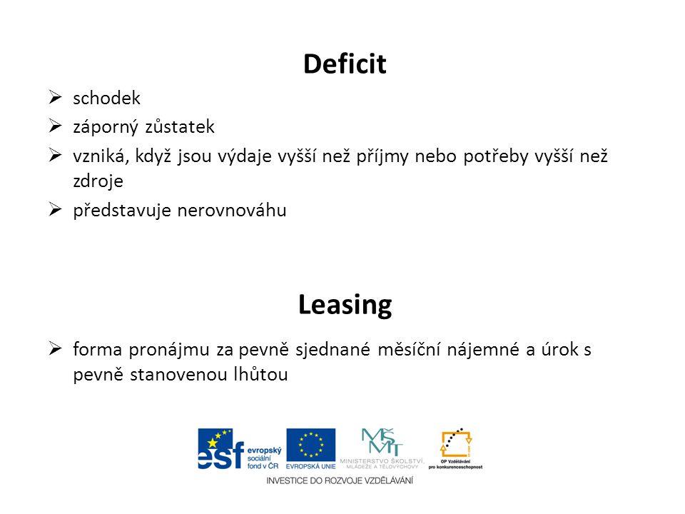 Deficit Leasing schodek záporný zůstatek