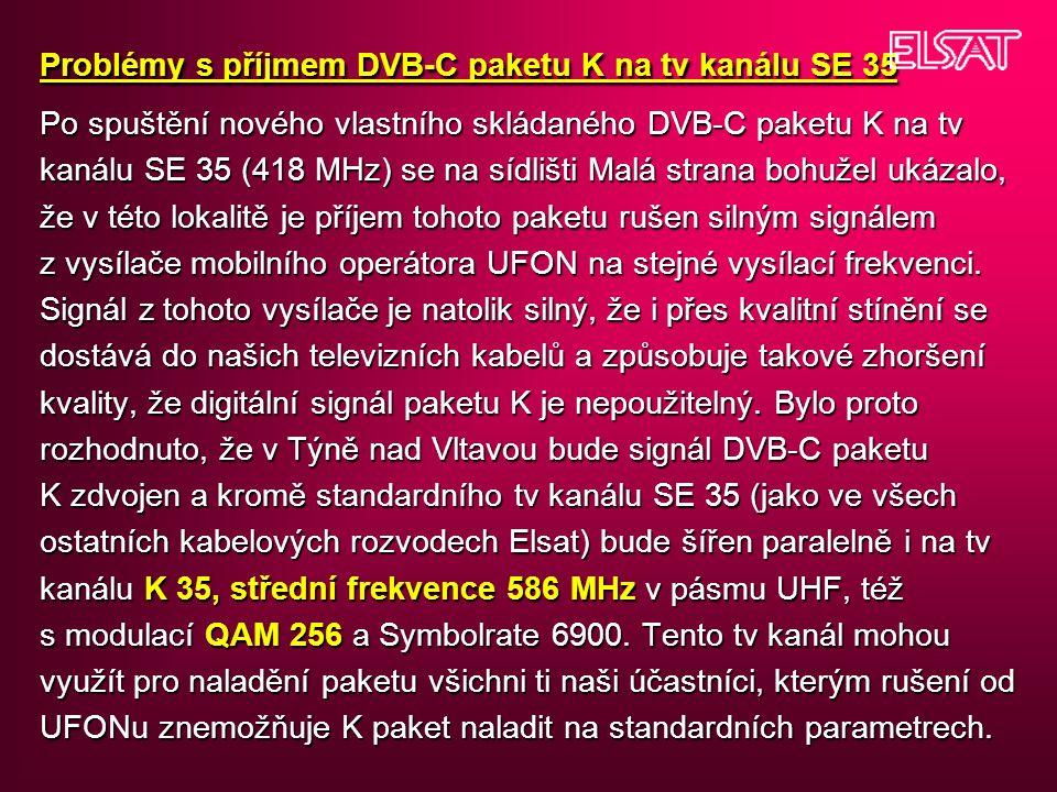 Problémy s příjmem DVB-C paketu K na tv kanálu SE 35 Po spuštění nového vlastního skládaného DVB-C paketu K na tv kanálu SE 35 (418 MHz) se na sídlišti Malá strana bohužel ukázalo, že v této lokalitě je příjem tohoto paketu rušen silným signálem z vysílače mobilního operátora UFON na stejné vysílací frekvenci.
