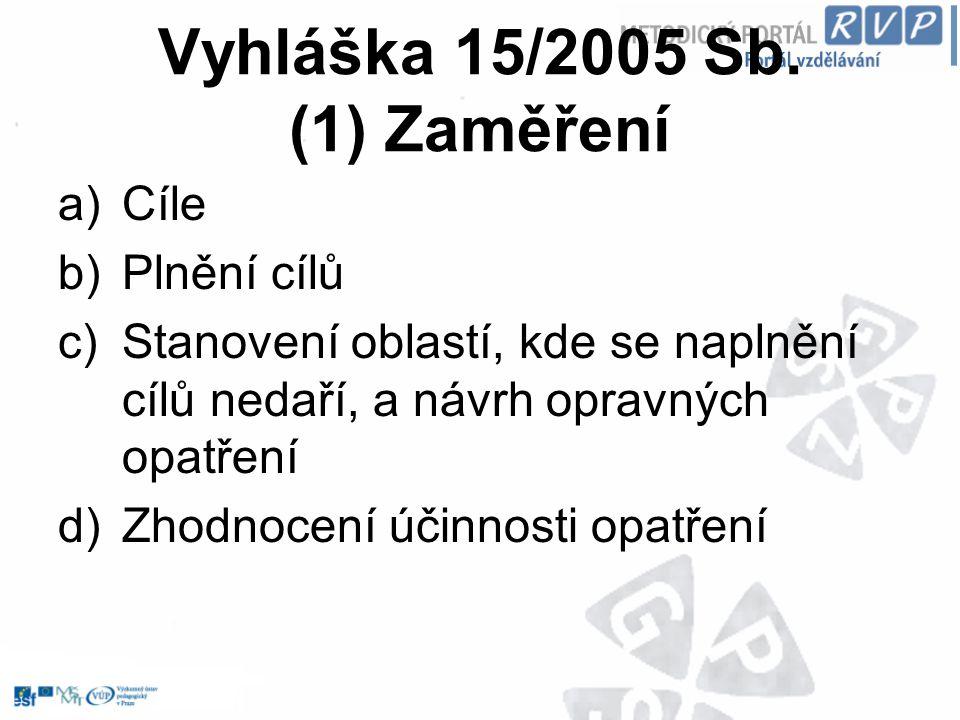 Vyhláška 15/2005 Sb. (1) Zaměření