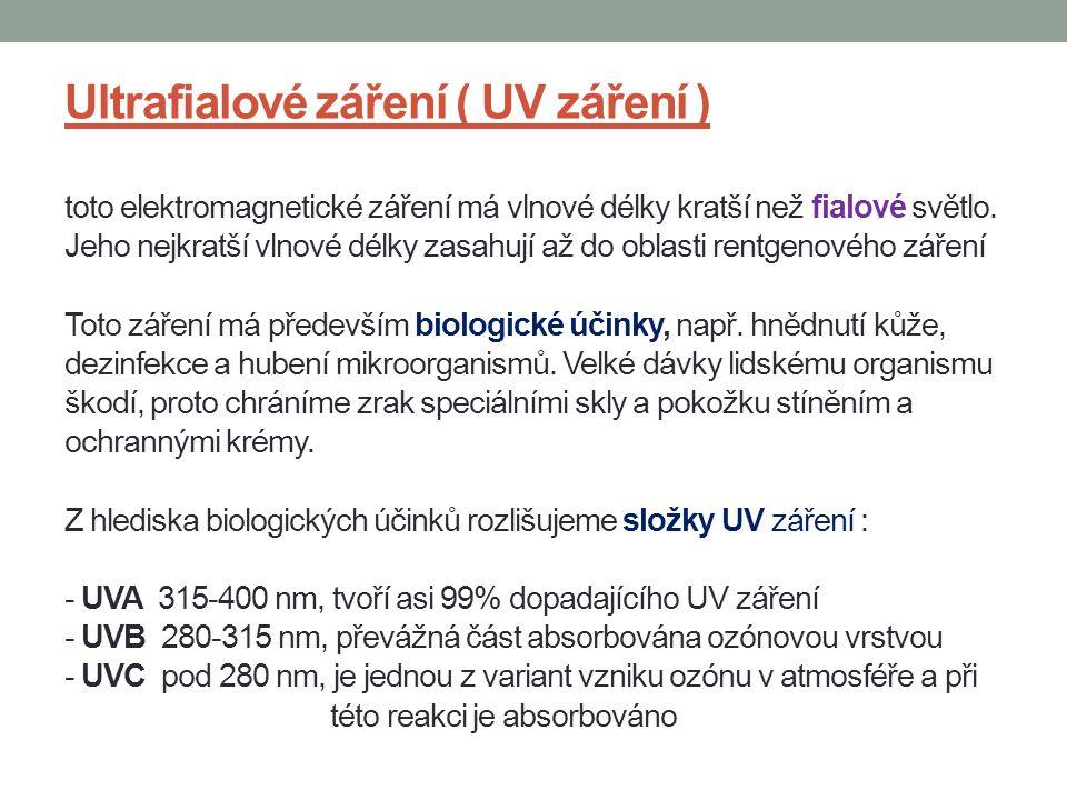 Ultrafialové záření ( UV záření ) toto elektromagnetické záření má vlnové délky kratší než fialové světlo.