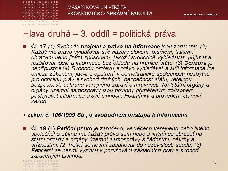 Hlava druhá – 3. oddíl = politická práva