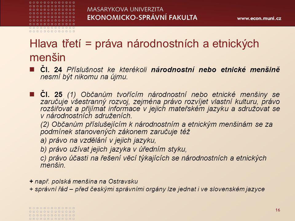 Hlava třetí = práva národnostních a etnických menšin