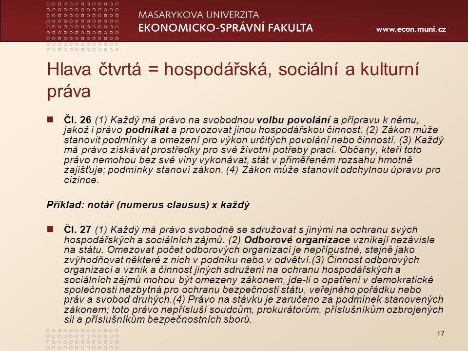Hlava čtvrtá = hospodářská, sociální a kulturní práva