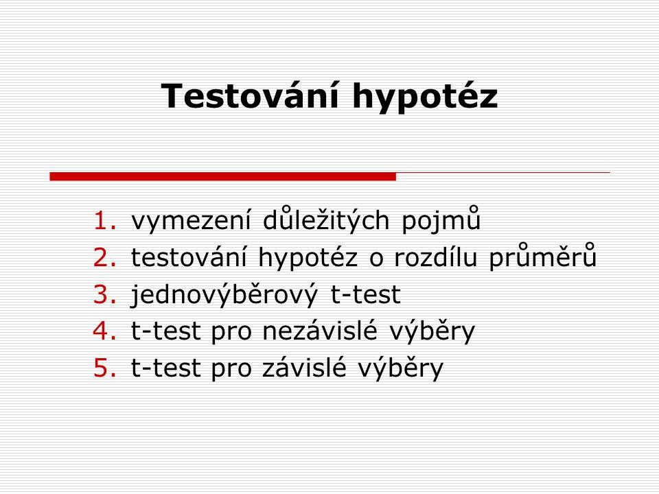 Testování hypotéz vymezení důležitých pojmů