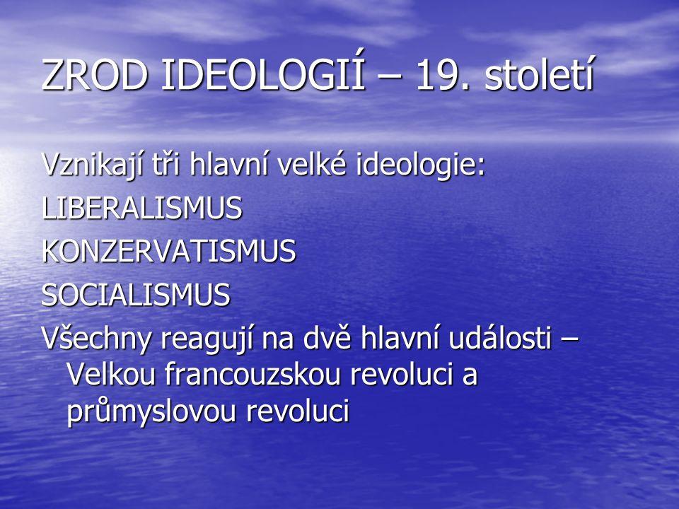 ZROD IDEOLOGIÍ – 19. století