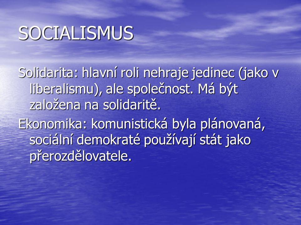 SOCIALISMUS Solidarita: hlavní roli nehraje jedinec (jako v liberalismu), ale společnost. Má být založena na solidaritě.