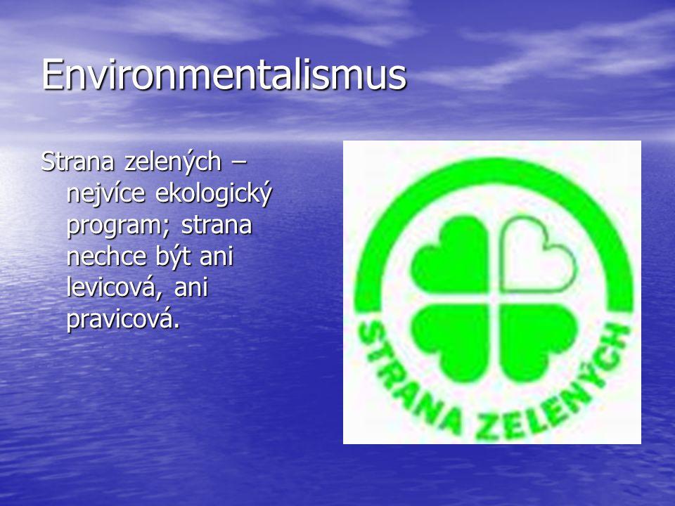 Environmentalismus Strana zelených –nejvíce ekologický program; strana nechce být ani levicová, ani pravicová.