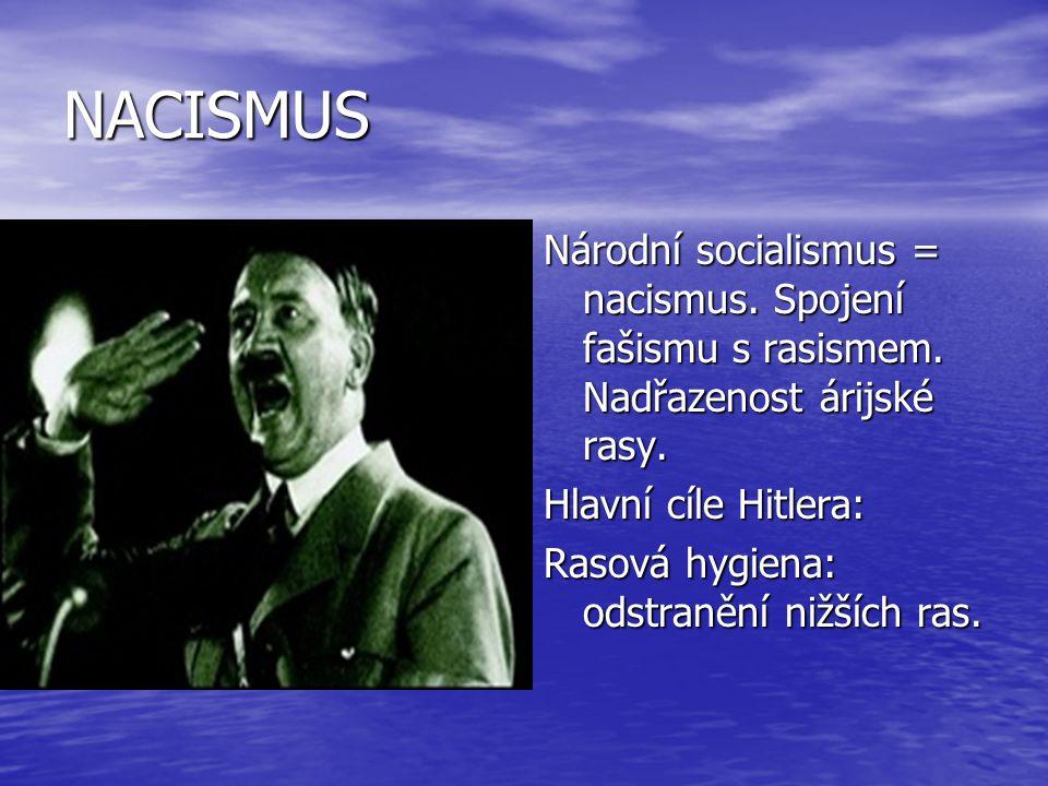 NACISMUS Národní socialismus = nacismus. Spojení fašismu s rasismem. Nadřazenost árijské rasy. Hlavní cíle Hitlera: