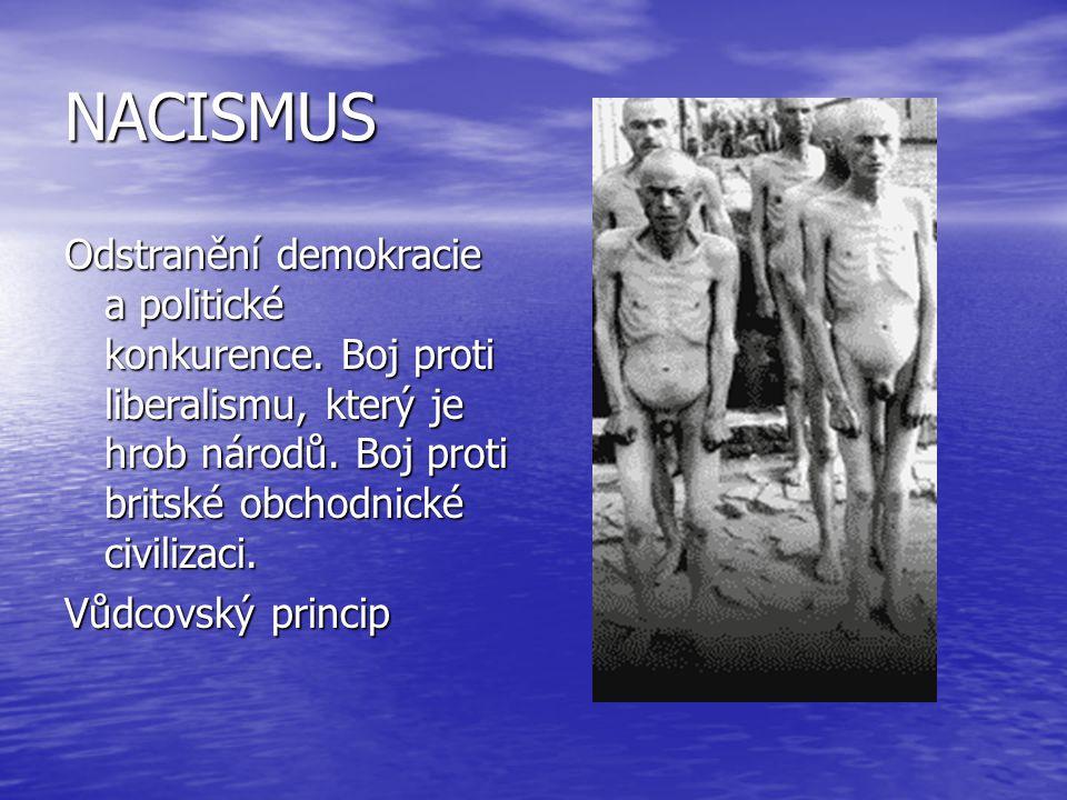 NACISMUS Odstranění demokracie a politické konkurence. Boj proti liberalismu, který je hrob národů. Boj proti britské obchodnické civilizaci.
