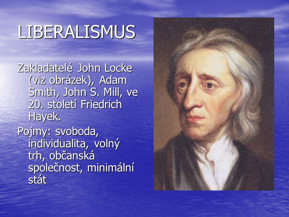 LIBERALISMUS Zakladatelé John Locke (viz obrázek), Adam Smith, John S. Mill, ve 20. století Friedrich Hayek.