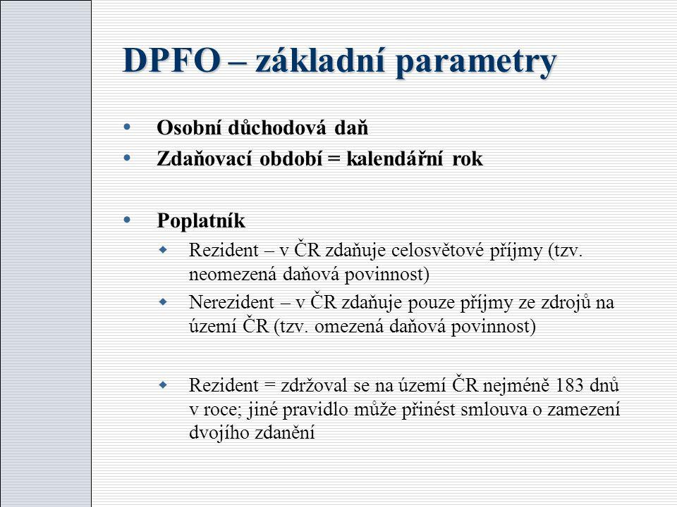 DPFO – základní parametry