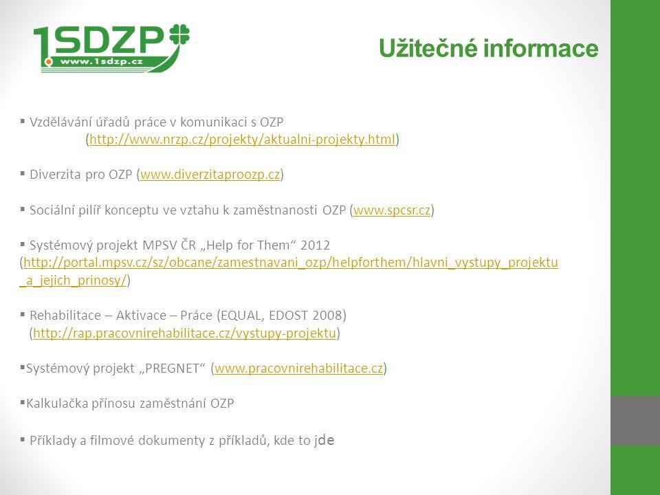 Užitečné informace Vzdělávání úřadů práce v komunikaci s OZP (http://www.nrzp.cz/projekty/aktualni-projekty.html)