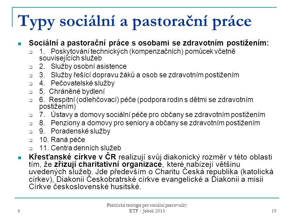Typy sociální a pastorační práce