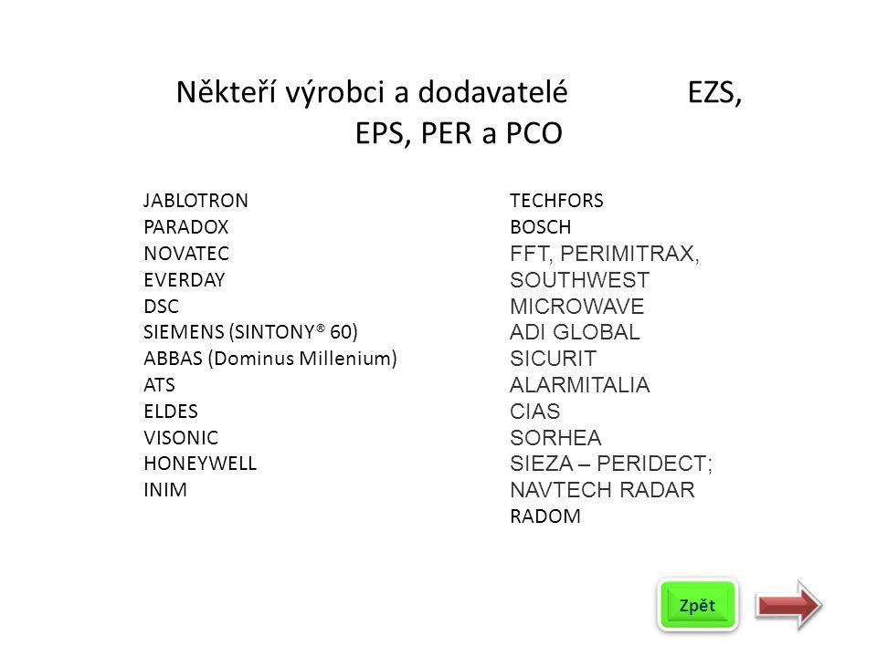 Někteří výrobci a dodavatelé EZS, EPS, PER a PCO