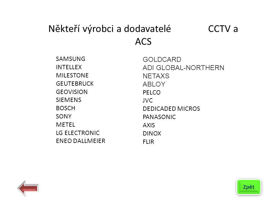 Někteří výrobci a dodavatelé CCTV a ACS