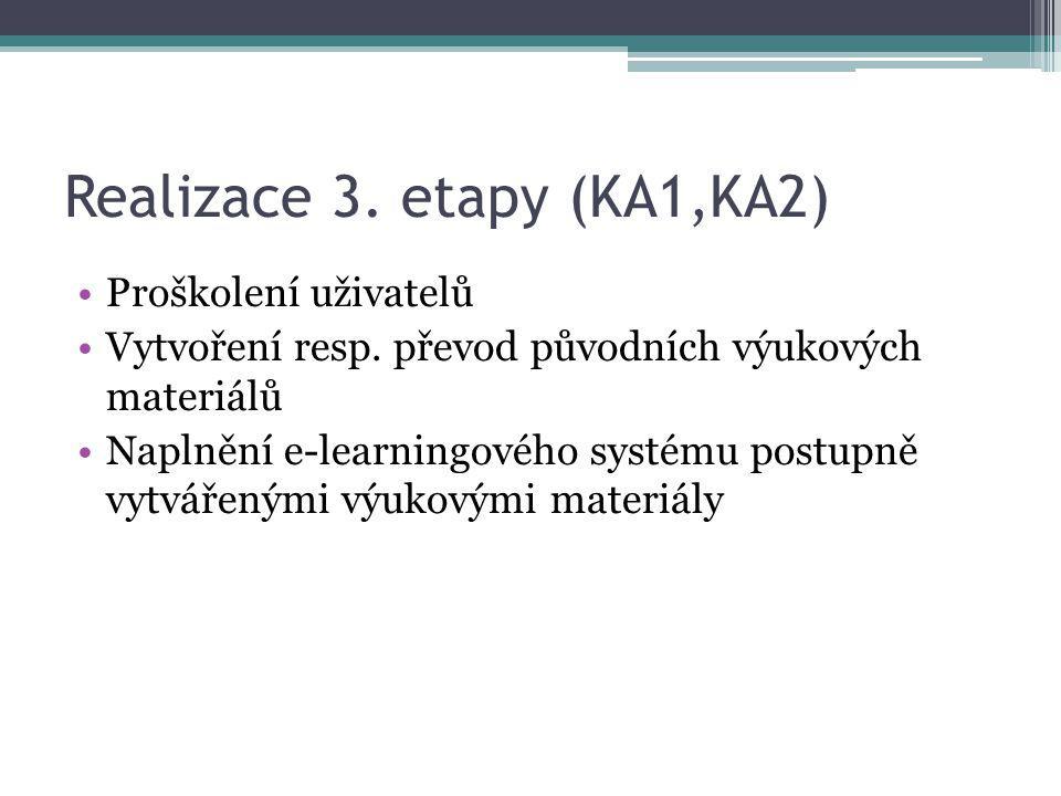 Realizace 3. etapy (KA1,KA2)