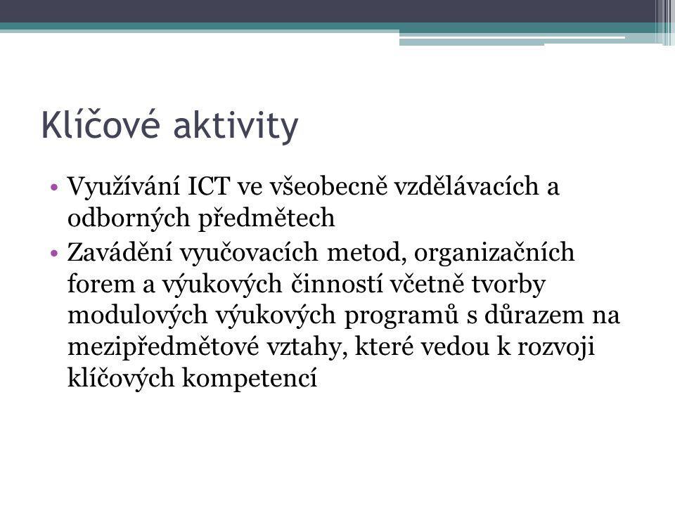 Klíčové aktivity Využívání ICT ve všeobecně vzdělávacích a odborných předmětech.