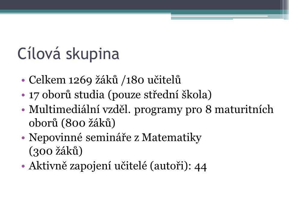 Cílová skupina Celkem 1269 žáků /180 učitelů