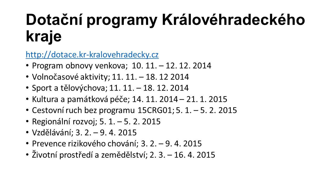 Dotační programy Královéhradeckého kraje