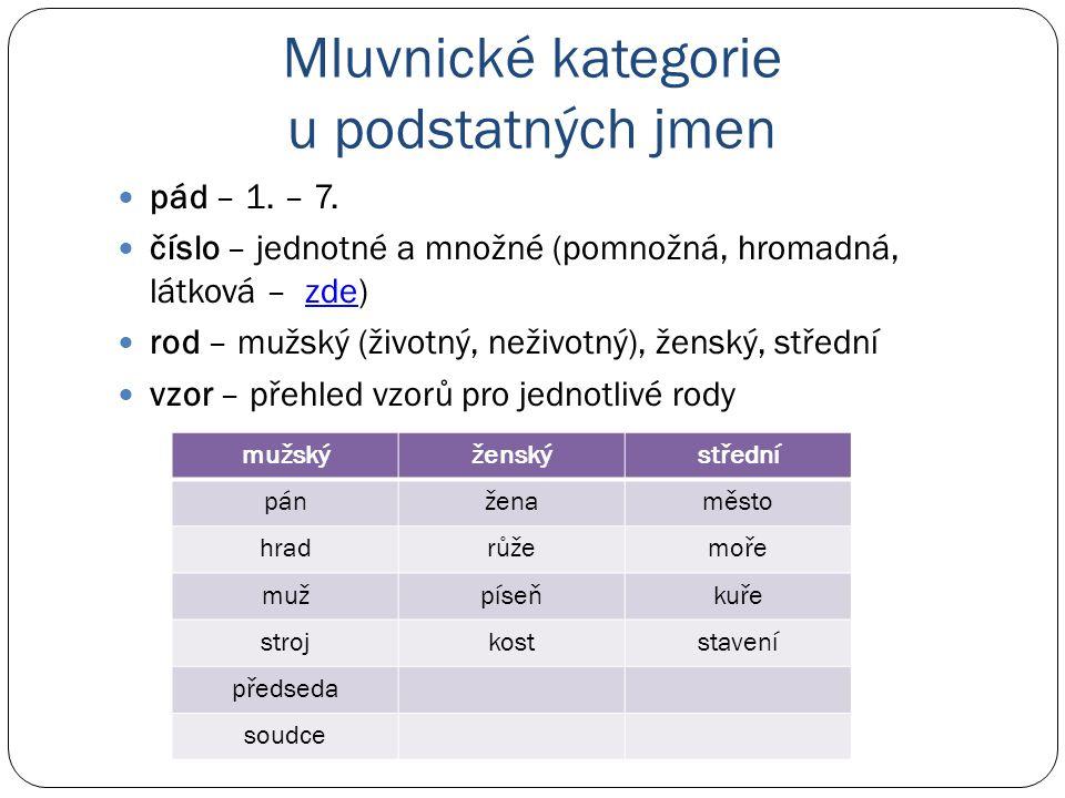 Mluvnické kategorie u podstatných jmen