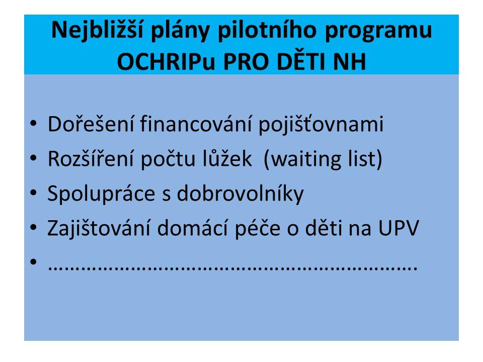 Nejbližší plány pilotního programu OCHRIPu PRO DĚTI NH