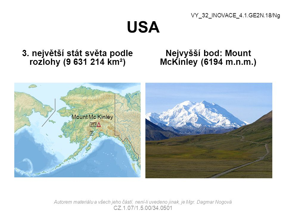 USA 3. největší stát světa podle rozlohy (9 631 214 km²)